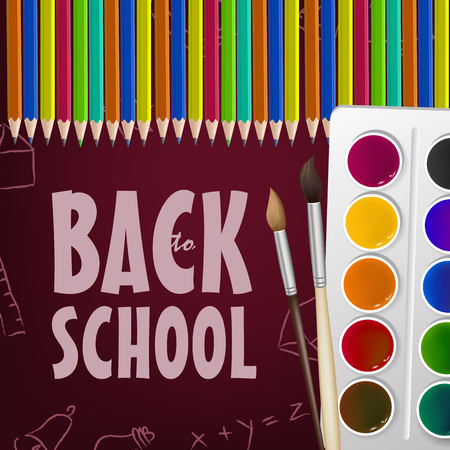 Back to school poster design with brushes, paint box, colored pencils and random chalk drawings on maroon background. Text can be used for signs, brochures, banners