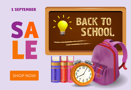 Back to school, shop now sale leaflet design with books, alarm clock, backpack and chalkboard. Text can be used for signs, posters, banners, promo flyers
