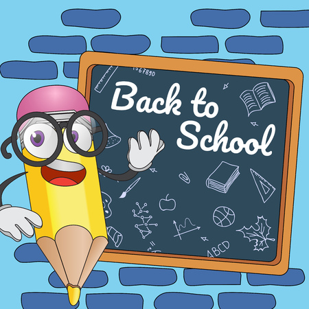 Back to school poster design. Cartoon pencil and board with random chalk drawings Text can be used for signs, brochures, banners Illustration