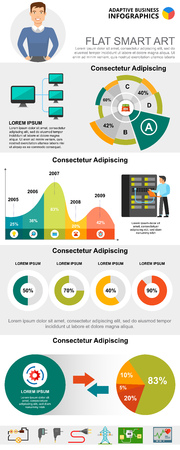 Information technologies concept infographic charts set. Business area and pie charts for presentation slide templates. Can be used for financial report, workflow layout and brochure design.