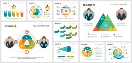 Conjunto de gráficos infográficos de concepto colorido de gestión o análisis. Elementos de diseño empresarial para plantillas de diapositivas de presentación. Para informes corporativos, publicidad, maquetación de folletos y diseño de carteles. Ilustración de vector