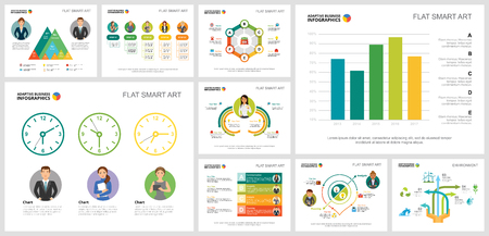 Colorful planning or ecology concept infographic charts set. Business design elements for presentation slide templates. For corporate report, advertising, leaflet layout and poster design.