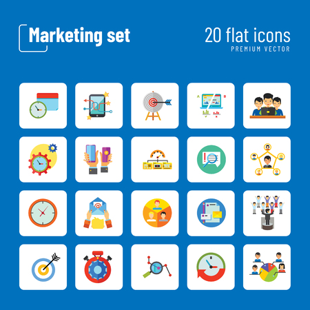 Marketing Icon Set. Targeting Users Split Test E-mail Marketing Brand Identity Marketing Analysis Social Media Marketing Processing SEO Target Hands With Smartphones Product Placement Ilustración de vector