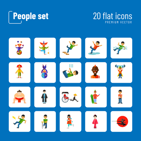 People icon set. Falling down the stairs, slipping, snowboarder, ninja. Extreme activity concept. Can be used for topics like caution, comics, freaks Illustration