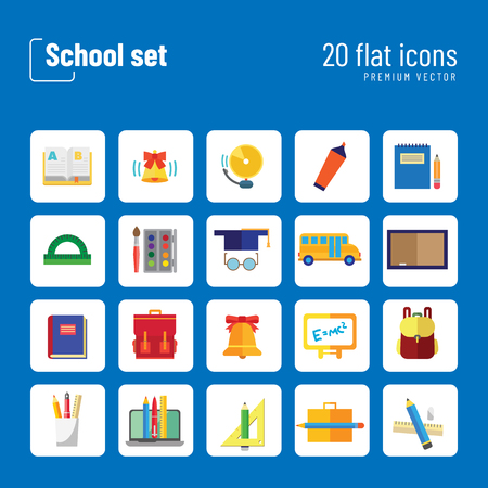 School icon set. Book, bell, laptop, bag, graduation cap. Studying concept. Can be used for topics like education, scholarship, learning