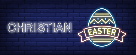 Cristian Easter neon sign. Easter egg with ribbon on brick wall background. Vector illustration in neon style for festive banners and billboards Ilustração