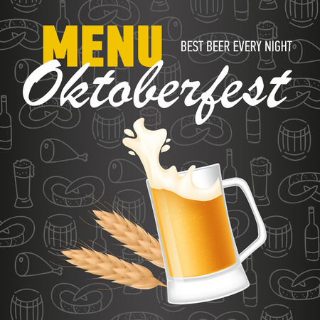 Menu, Oktoberfest lettering with wheat and mug of beer. Holiday, celebration or offer design. Handwritten and typed text, calligraphy. For leaflets, invitations, posters or banners.