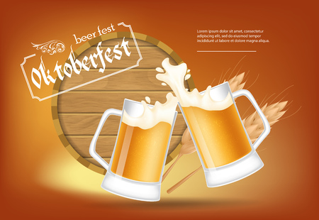Oktoberfest, beer fest lettering with beer mugs and barrel. Holiday, celebration or offer design. Typed text, calligraphy. For leaflets, brochures, invitations or banners.