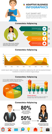 Marketing and analysis concept infographic charts set. Business area and pie charts for presentation slide templates. Can be used for financial report, workflow layout and brochure design.