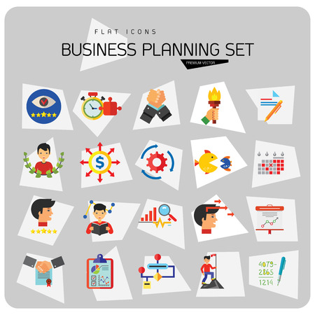 Business Planning Icon Set. Report Budget Commitment Achievement Self Esteem Solution Star Employee Struggle Motivation Merger And Acquisition Algorithm Vision Quality Management