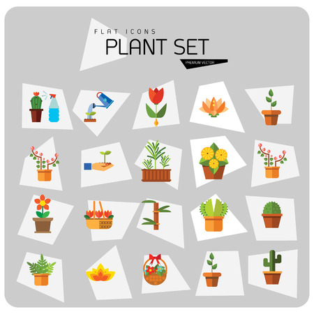 Plant Icon Set. Basket With Flowers Wheat Ears Watering Plant In Flowerpot Flowers In Pot Tulips In Basket Tulip Lotus Exotic Flower Hand Holding Plant Boston Fern Rosemary Bamboo
