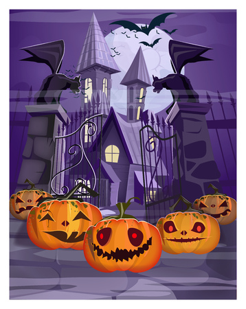 Haunted house with gate and pumpkins vector illustration. Purple Halloween night background. Holiday concept. For websites, wallpapers, banners or posters