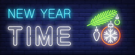 New Year time neon sign. Fir branch with baubles and snowflake on brick wall background. Vector illustration in neon style for Christmas and New Year celebration Illustration