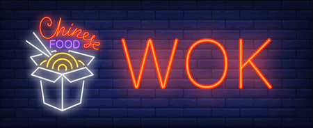 Wok, Chinese food neon sign. Box of takeaway noodles with chopsticks on brick wall background. Vector illustration in neon style for Asian restaurants, carry out and street food