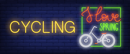Cycling neon sign. Glowing I Love Spring lettering in bar square with bicycle on brick background. Night bright advertisement. Vector illustration in neon style for bike stores and parks Çizim