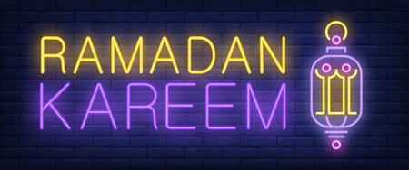 Ramadan Kareem neon sign. Glowing bar holiday greeting and oriental lamp on brick background. Night bright advertisement. Vector illustration in neon style for religion and traditional Islamic holiday