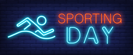 Sporting day neon sign. Glowing bar lettering with swimming man on brick background. Night bright advertisement. Vector illustration in neon style for swimming pools and sport centers
