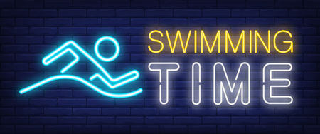 Swimming time neon sign. Glowing bar lettering with swimming man on brick background. Night bright advertisement. Vector illustration in neon style for swimming pools and sport centers