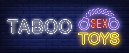 Enseigne au néon tabou. Glowing bar Sex Toys lettrage et menottes sur fond de brique. Publicité lumineuse de nuit. Illustration vectorielle dans un style néon pour boutique et