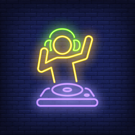 Disc jokey with dj mixer neon sign. Music, party and sound concept. Advertisement design. Night bright neon sign, colorful billboard, light banner. Vector illustration in neon style. Illustration