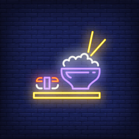 Japanese dishes with sushi and rice neon sign. Food, restaurant, Japanese cuisine. Advertisement design. Night bright neon sign, colorful billboard, light banner. Vector illustration in neon style. Vectores