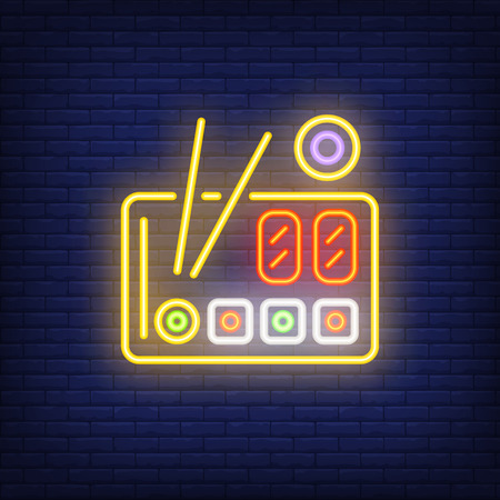 Sushi set with chopsticks on plate neon sign. Food, restaurant, Japanese cuisine. Advertisement design. Night bright neon sign, colorful billboard, light banner. Vector illustration in neon style.