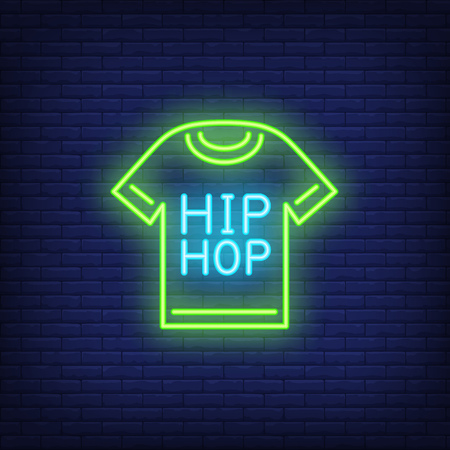 Hip-hop t-shirt neon sign. Luminous signboard with garment. Night bright advertisement. Vector illustration in neon style for music, party, fashion Illustration