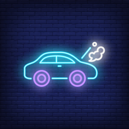 Broken car neon sign. Luminous signboard with road accident. Night bright advertisement. Vector illustration in neon style for car service, emergency, overheating, misfortune Illustration