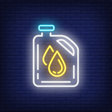 Oil change neon icon. Can with drops on brick wall background. Car service concept. Vector illustration can be used for street wall signs, billboards, maintenance, garage