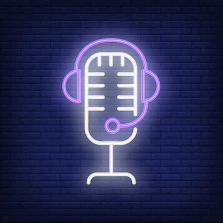 Recording studio neon icon. Mic and headset on brick wall background. Sound equipment concept. Vector illustration can be used for neon signs, billboards, show business