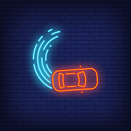Drifting neon icon. Curve line and car on brick wall background. Auto racing concept. Vector illustration can be used for neon signs, billboards, formula poster
