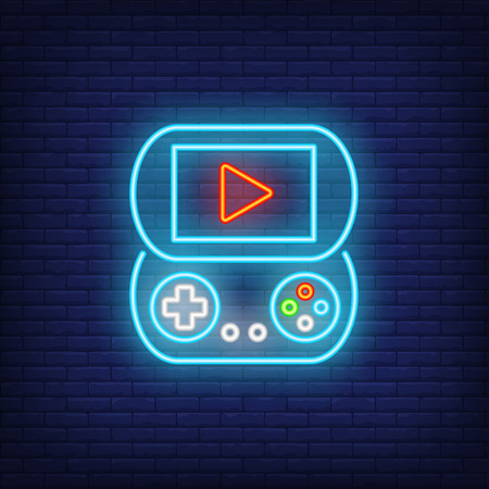 Portable play station neon icon. Game console with buttons and play sign on screen. Gaming industry concept. Vector illustration can be used for neon signs, billboards, game arcades.