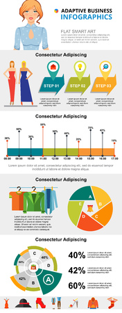 Fashion and marketing infographic charts set. Bar and pie charts for presentation slide templates. Business concept for annual report, flyer layout and banner design.