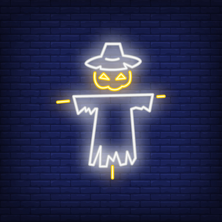 Halloween bogey neon icon. Scary character with pumpkin head. All Hallows eve concept. Vector illustration can be used for street wall signs, party announcements, celebration design