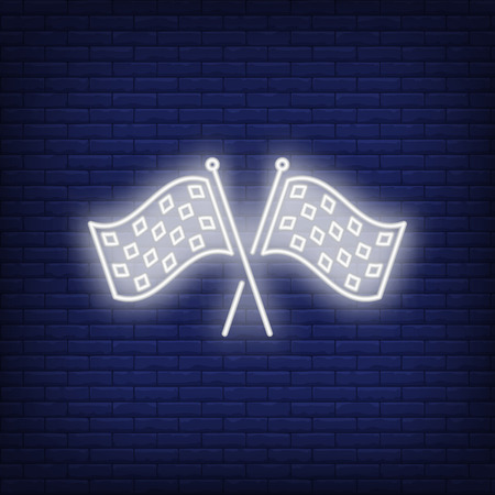 Racing flags neon icon. Crossed checkered flags on brick wall background. Car racing concept. Vector illustration can be used for neon signs, billboards, formula banners
