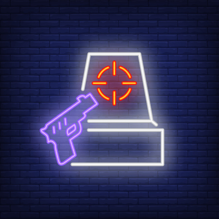 Shooter game neon icon. Gun and target on brick wall background. Game or hobby concept. Vector illustration can be used for neon signs, posters, billboards, shooting range.