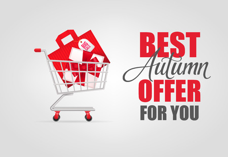 Best autumn offer for you lettering with shopping cart. Autumn offer or sale advertising design. Handwritten and typed text, calligraphy. For leaflets, brochures, invitations, posters or banners.