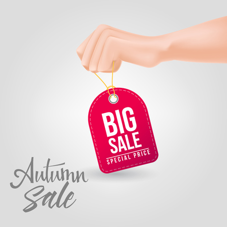 Big sale, special price lettering on tag being held with hand. Autumn offer or sale advertising design. Handwritten and typed text, calligraphy. For leaflets, brochures, posters or banners.