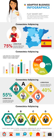 Spain and marketing concept infographic charts set. Business process and pie charts for presentation slide templates. For corporate report, advertising, leaflet layout and poster design.