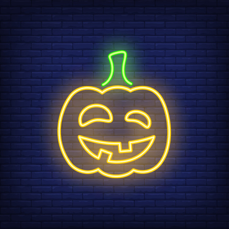 Carved pumpkin neon icon. Terrifying grimly smiling Halloween character. Halloween concept. Vector illustration can be used for street wall signs, all Hallows day, party announcements. Иллюстрация