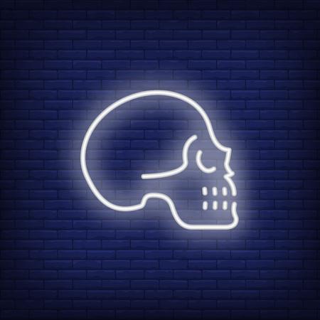 Perfil de cráneo humano sobre fondo de pared de ladrillo. Concepto de Halloween. La ilustración del vector se puede utilizar para los letreros de la pared de la calle, la fiesta del día de todos los Santos, la invitación.