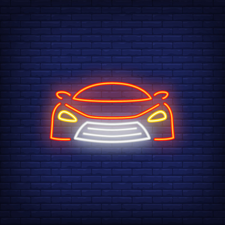 Super car neon icon. Face of red sport car on brick wall background. Auto racing concept. Vector illustration can be used for neon signs, billboards, formula banner