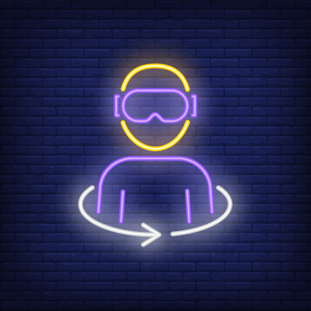 Virtual reality neon icon. Person in VR glasses on brick wall background. Gaming industry concept. Vector illustration can be used for VR game arcades.