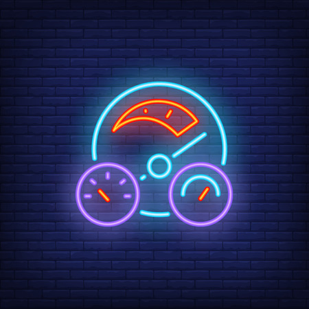 Car dashboard neon icon. Control panel on brick wall background. Auto racing concept. Vector illustration can be used for neon signs, billboards, formula posters