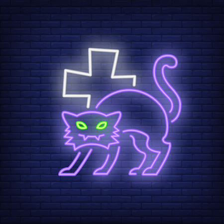 Halloween cat neon icon. Spooky character cross shape on brick wall background. All Hallows eve concept. Vector illustration can be used for street wall signs, party announcements, celebration design Иллюстрация