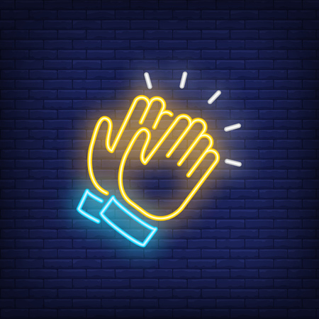 Applause neon icon. Clapping hands on brick wall background. Show concept. Vector illustration can be used for neon signs, advertising, stand up show, concert