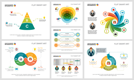 Colorful analytics or planning concept infographic charts set. Business design elements for presentation slide templates. For corporate report, advertising, leaflet layout and poster design.