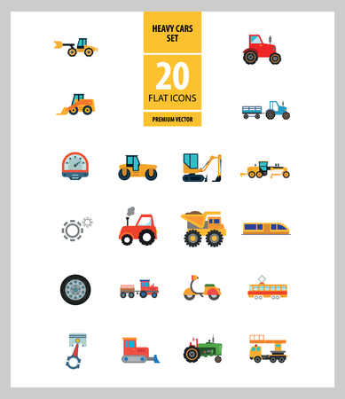 Heavy Cars Icon Set. Trailer Red Tractor Bulldozer Blue Tractor Skid Loader Green Tractor Loaded Dump Truck Construction Road Grader Roller Excavator
