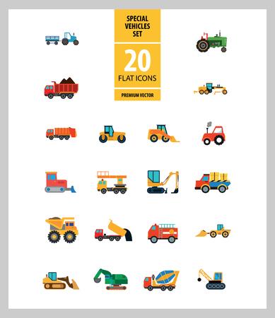 Conjunto de iconos de vehículos especiales. Cargadora deslizante, tractor, elevador industrial. Concepto de vehículo. Se puede utilizar para temas como industria, construcción, construcción de carreteras.