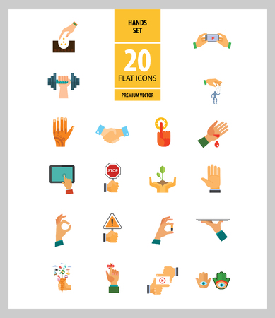 Hands icon set. Handshake, fist up, coffee to go, washing hands. Gesturing concept. Can be used for topics like communication, app design, hobby, lifestyle